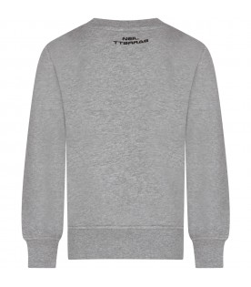 Grey sweatshirt for boy with thunder and logo