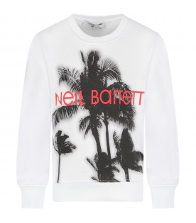 White boy sweatshirt with palm trees and logo
