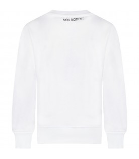 White sweatshirt for boy with palm trees and logo