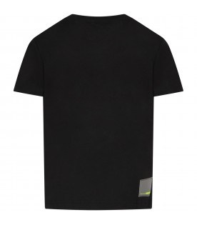 Black boy T-shirt with neon yellow logo