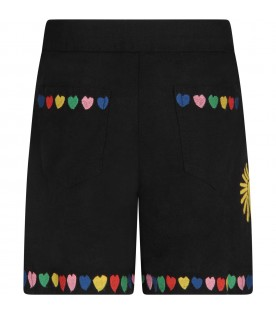 Black shorts with embroideries for girl