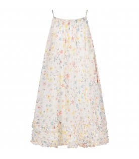 White dress with flowers for gilr