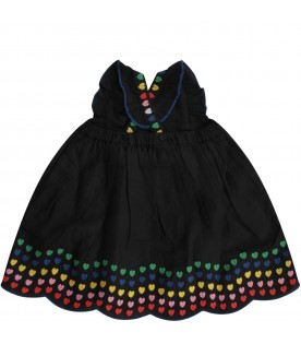 Black dress with colorful hearts for baby girl