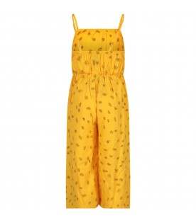 Yellow jumpsuit with all-over flowers
