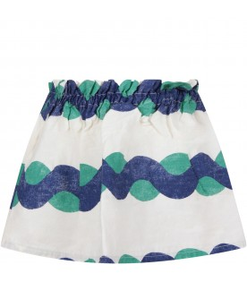 White skirt with blue and green print for girl