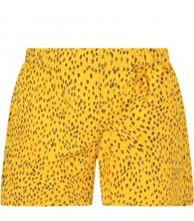 Yellow shorts with polka dots for kids