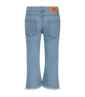 Light bllue jeans with colorful logo for girl