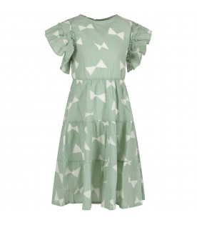 Green dress with white print for girl