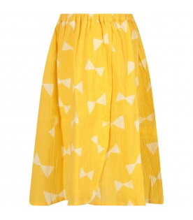 Yellow skirt with all-over print for girl