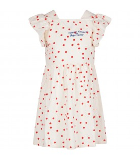 White dress with red polka dots for girl