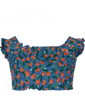 Light blue girl top with tangerine and flowers