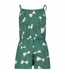 Green jumpsuit with all-over print for girl
