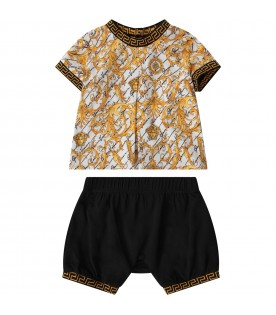 White and black babykids suit with iconic print