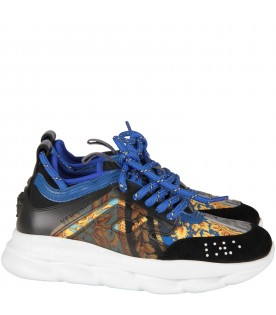 Black and blue kids  Chain Reaction kids sneakers with iconic print