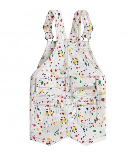 White overall with colorful spots for baby boy
