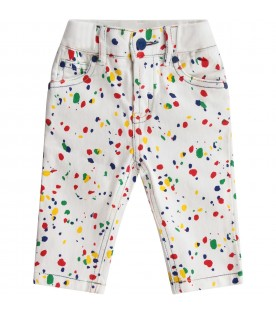 White pants with colorful spots for baby boy