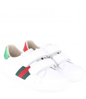 White kids sneakers with red and green Webs details