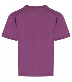Purple kids T-shirt with orange logo
