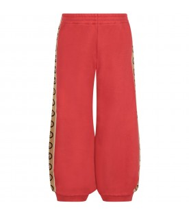 Red kids sweatpants with double GG