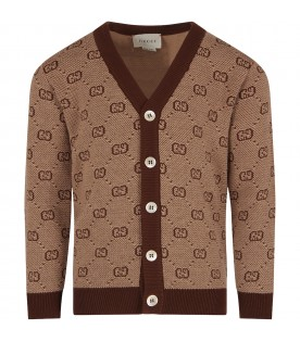 Beige cardigan for boy with double GG