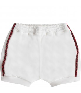 White babyboy short with red and green web details