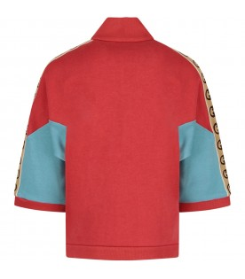 Red and light blue girl sweatshirt with double GG