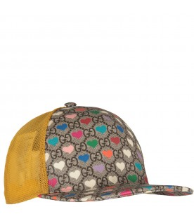 Beige girl hat with colorful hearts