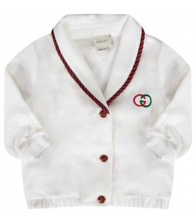 White babyboy jacket with double GG
