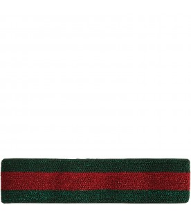 Red and green girl headband