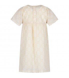 Ivory girl dress with double GG