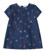 Gucci Kids Blue babygirl dress with double GG and apples