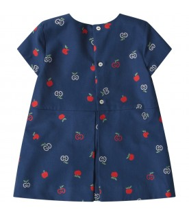 Blue dress for baby girl with double GG and apples