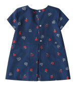 Gucci Kids Blue dress for baby girl with double GG and apples