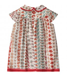 Ivory babygirl dress with double GG and flora prints