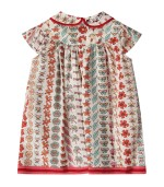 Gucci Kids Ivory babygirl dress with double GG and flora prints