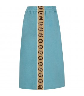 Light blue skirt for girl with double GG