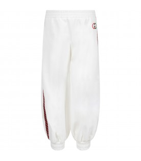 White sweatpants for girl with double GG