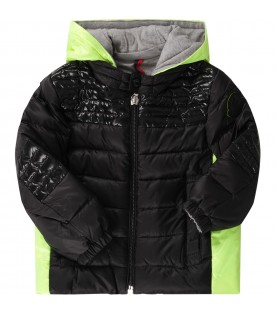 Black and neon yellow babyboy jacket with iconic patch