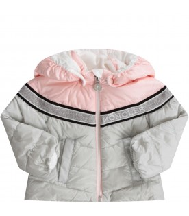 Grey and pink babygirl jacket with white logo