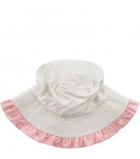 White babygirl sun hat with iconic patch