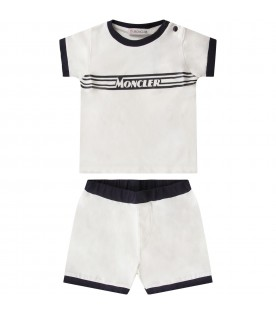 White and blue babyboy suit with black logo