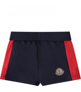 Short blu per neonato con iconico patch