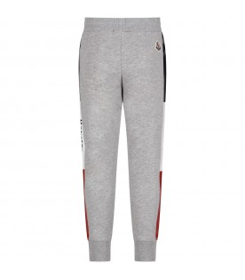 Grey sweatpants for boy with logo
