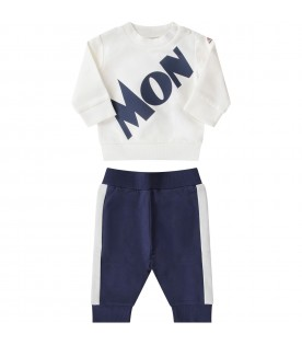 White and blue babyboy tracksuit with logo