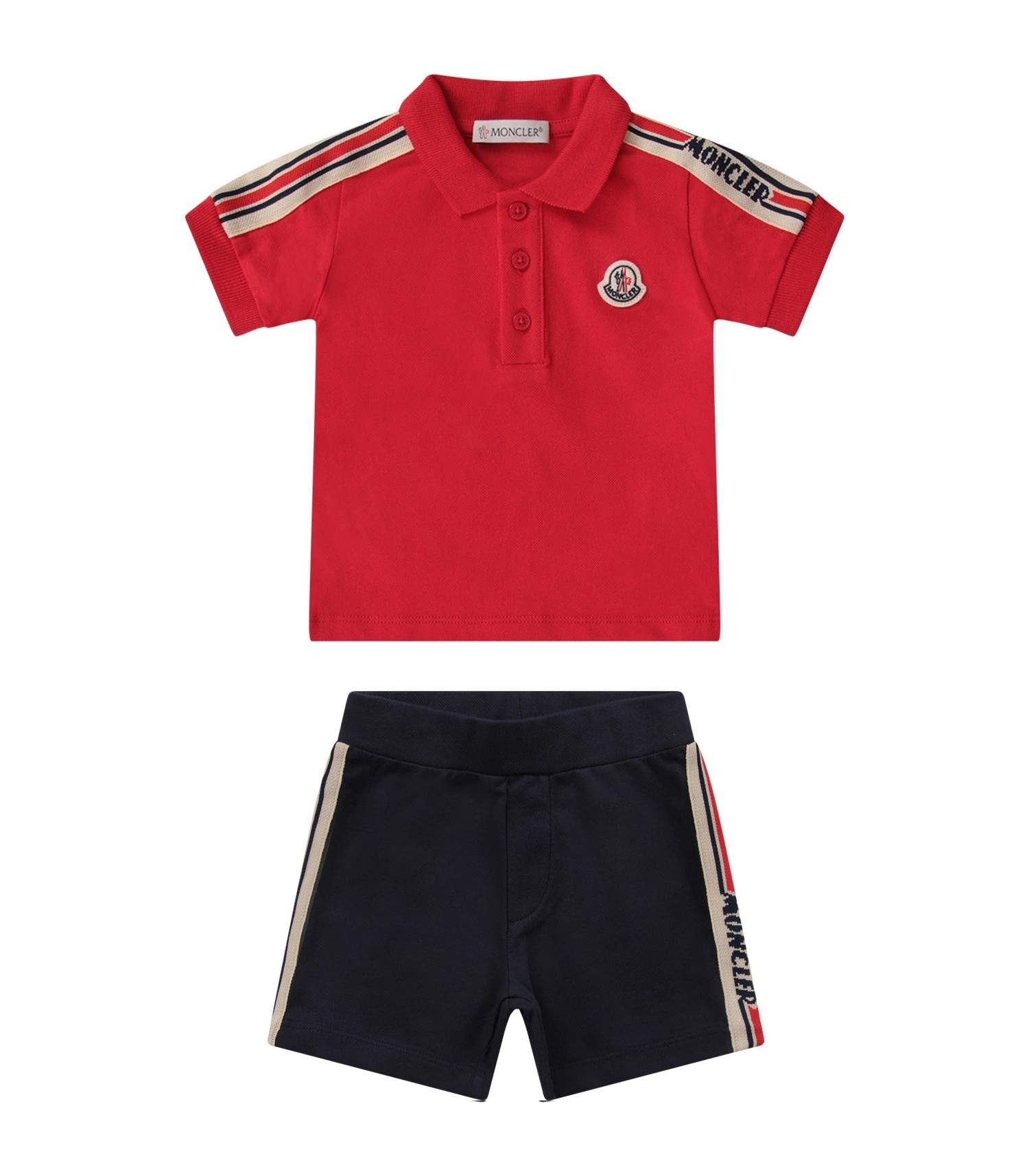 Moncler Kids Red and blue babyboy suit with logo