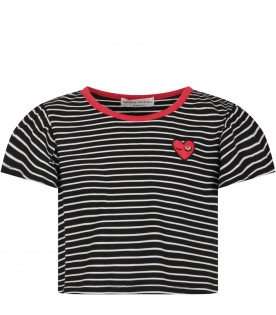 White and black T-shirt for girl with red iconic heart