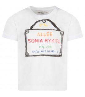 White girl T-shirt with logo and writing