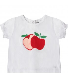 White and pink babygirl suit with apple