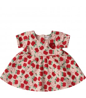 Pink babygirl suit with red apples