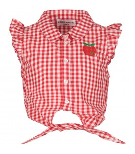 White and red girl shirt with apple
